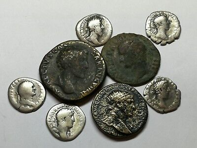 Ancient Roman Imperial Large Bronze & Silver Denar Coins LOT1 - 8 ps 17-32MM