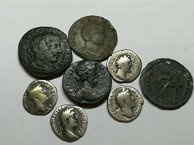 Ancient Roman Imperial Large Bronze & Silver Denar Coins LOT2 - 8 ps 17,5-29MM
