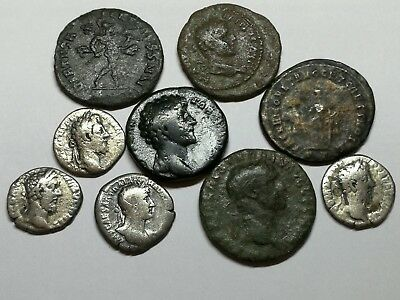 Ancient Roman Imperial Large Bronze & Silver Denar Coins LOT3 - 9 ps 17-27MM