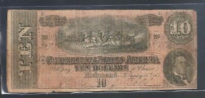 $10 Confederate TEN Dollar Obsolete Paper Money Old VA Note Rebel CSA 1864 Bill