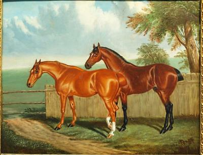 FINE 19th Century Equestrian TWO BAY HORSES In Paddock Antique Oil Painting