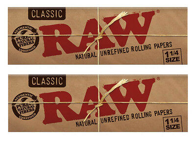 "Raw Classic (Natural UnRefined Rolling Papers) 1/4"" 2 Packs! **Free Shipping**"