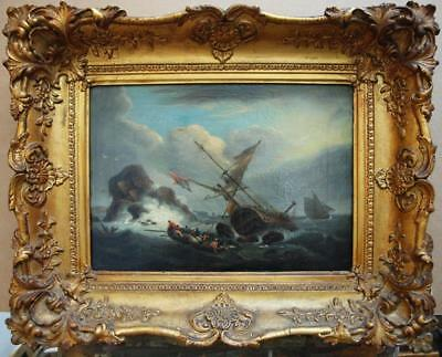 """FINE 19th Century ENGLISH SCHOOL """"To The Rescue"""" Antique Oil Painting"""