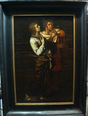 LARGE 17th CENTURY THE ADORATION Antique OIL Painting For Restoration