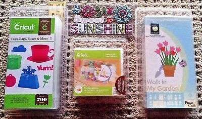 NEW~3 Cricut Cartridges~TAGS BAGS BOXES & MORE 2+CREATE a FRIEND+WALK IN GARDEN