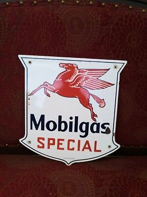 Vintage Mobilgas Special Gasoline Porcelain Sign, Service Station, Gas, Oil