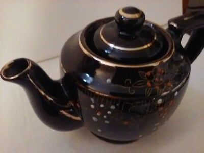 Vintage Brown Floral Pattern Stoneware Teapot Japan, Nice Condition, 4""