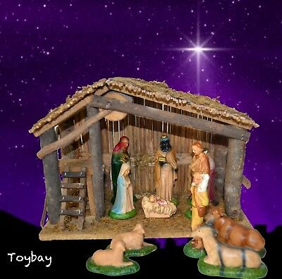 70s Vintage SEARS Real Wood NATIVITY SET w/ Hand Painted Porcelain Figures & Box