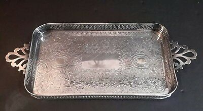 """Antique Crescent Silver Plate Gallery Purfume Vanity Tray Gallery Handled 11"""""""