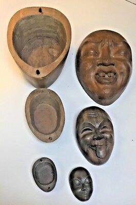 Antique Chinese hand carved wood 3 nesting face boxes~Tongue+Smile Rare Unusual