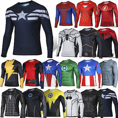 Mens Marvel Compression Base Layer Gym Top Superhero Long Sleeve T Shirts Tee UK