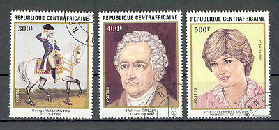 Central African Republic - Complete Set of used Stamps. Famous Persons.
