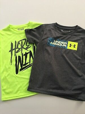 Under Armour Boys Lot of 2 Dri-fit Shirts Size 4T Neon Yellow Grey Logo