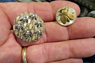 antique cut metal and brass MOP fly flies bees insects buttons