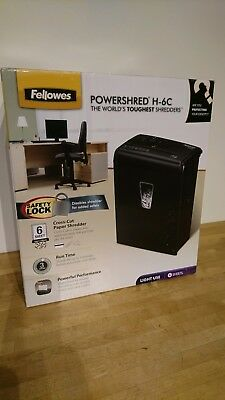 Fellowes Powershred H-6C 6 Sheet Cross Cut Personal Shredder inc Safety Lock