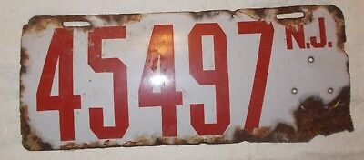 1913 Two New Jersey Nj Porcelain License Plates