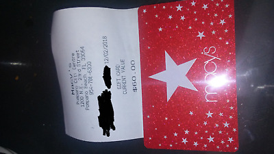 $60 Macys Macy's Gift Card with receipt and free shipping!