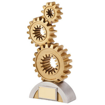 Resin Achievement Award Cogs Trophies 175mm high FREE Engraving