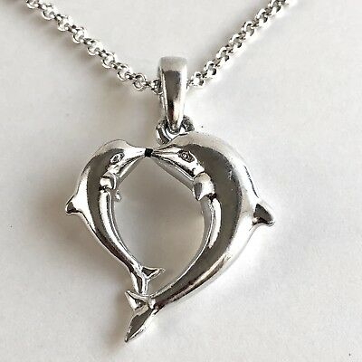 Arthur Court Jewelry Necklace Dolphin Mom Baby Heart Aluminium 18 to 20in Chain