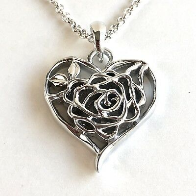 Arthur Court Necklace Aluminium Heart Rose Floral 1.75in Pendant 18in Jewelry