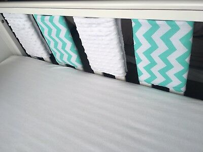 Handmade Cot Bar Bumpers Mint Chevron & White Dimple (set Of 8)