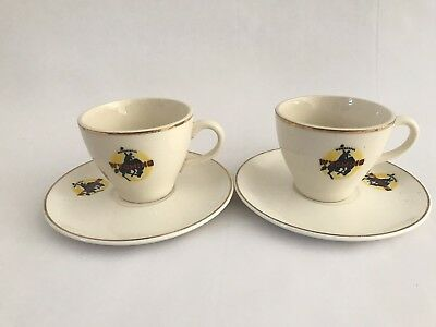 Vintage Wonderful Wyoming Horse State Souvenir Cup and Saucer Set