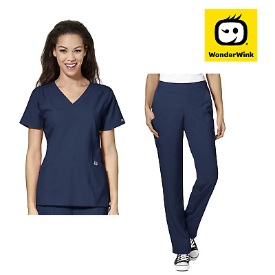 Womens Scrub Set - Premium Stretch Fabric Top and Pants Nurse Medical Uniform
