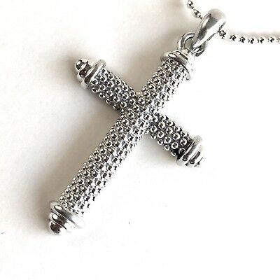 Arthur Court Necklace Aluminium Beaded Cross 2.5in Jewelry 18 to 20in Ball Chain