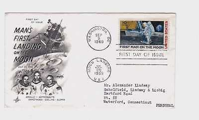 1969 Man's First Landing on the Moon 10 Cent 10c Stamp FDC FDI First Day Issue