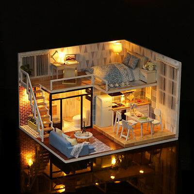 Handmade Kids Doll House Miniatures With Furniture & Staircase Fits DIY Q5P8