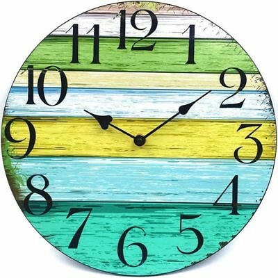 3X(12 inch Vintage Rustic Country Tuscan Style Decorative Round Wall Clock O7Z7)