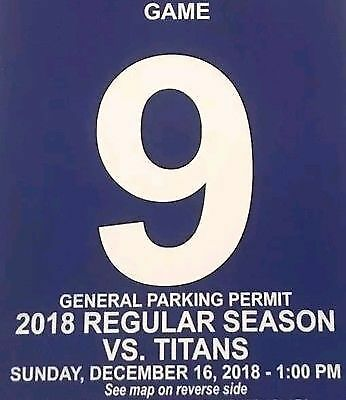 NY Giants V. Tennessee Titans Parking Pass ONLY 12/16/2018