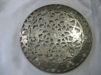 "Antique Webster Ornate Art Nouveau Sterling Silver Glass 6"" Trivet"