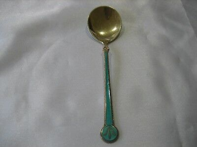 Signed David Anderson Norway Sterling Silver Green Guilloche Enamel Spoon
