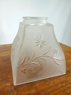 Lamp Shade Vintage Satin Ruffled Frosted Glass Art Deco Embossed Flowers