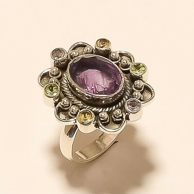 Natural Panorama Amethyst Ring 925 Sterling Silver Vintage Old Christmas Jewelry