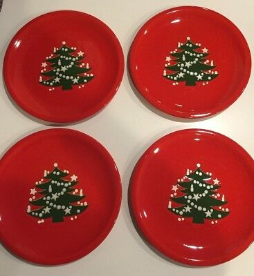 "Four Vintage Waechtersbach Christmas Tree Dinner Plates 10"" Germany"