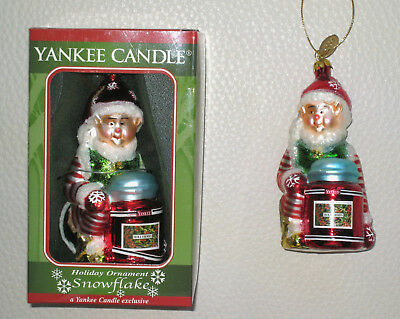 """NEW   """"Snowflake"""" ELF Blown Glass Christmas Ornament. Yankee Candle  New in Box"""
