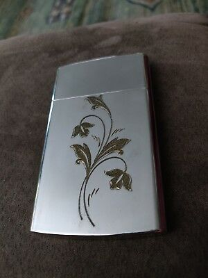 Vintage CHAS T. KENNEDY Brass No. 9 Cigarette Match Holder Carrying Case Floral