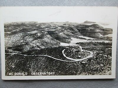 Aerial View McDonald Observatory, Fort Davis, Texas Real Photo Postcard 1943