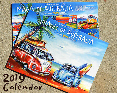 DEBORAH BROUGHTON ART 2019 Calendar Images of Australia by Deb Surf, Kombi, VW