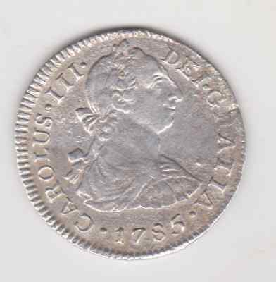 LIMA PERU   Spanish Silver 2 Reales 1785  XF -DETAILS CLEANED
