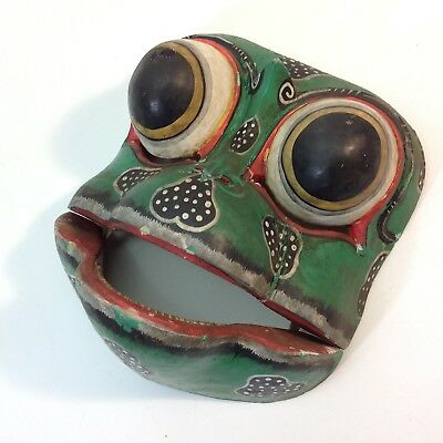 Vintage Indonesian / Balinese Hand Carved & Painted Frog Mask