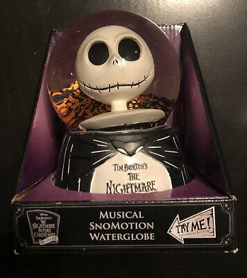 Nightmare Before Christmas 25th Years Jack Skellington Musical Motion Snow Globe