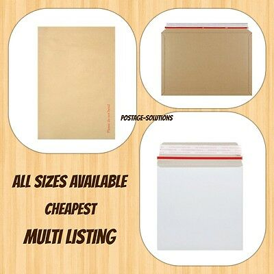 A4 C4  Hard Board Backed Manila / ALL Board White Envelope / Book Mailer CHEAP