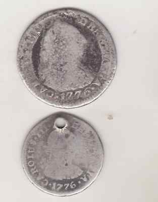 Set Of 2 1776 1 Real  And  1/2 Real Charles Iii Spanish Colonial Silver Coin