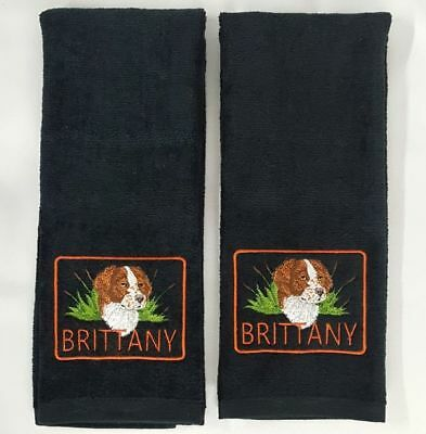 Brittany Hunting Dog  Embroidered Hand Towels