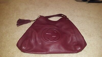 31c74c2d59ee GUCCI SOHO LARGE Red Flame Leather Handbag Hobo Zip Strap Soft Italy ...