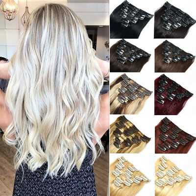 ON SALE Real Clip in Remy Human Hair Extensions 8 PCS Weft Full Head US stock
