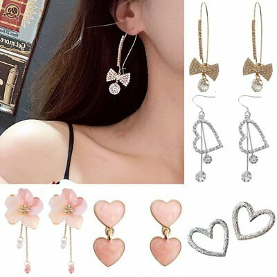 Fashion Women Korean Crystal Heart Earrings Personality Fairy Earrings Jewelry